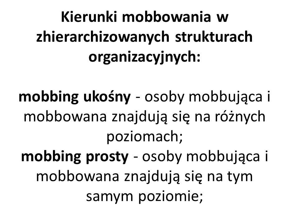 Kierunki mobbowania w zhierarchizowanych strukturach organizacyjnych: mobbing ukośny - osoby mobbująca i mobbowana znajdują się na różnych poziomach; mobbing prosty - osoby mobbująca i mobbowana znajdują się na tym samym poziomie;