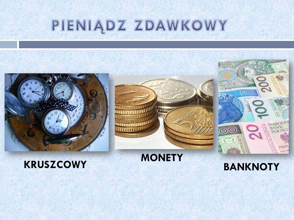 PIENIĄDZ ZDAWKOWY MONETY KRUSZCOWY BANKNOTY