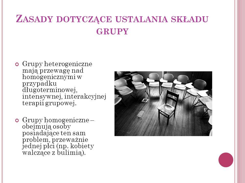 Zasady dotyczące ustalania składu grupy