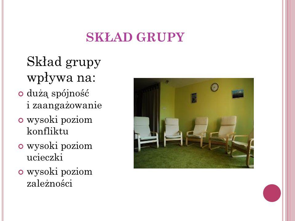 Skład grupy wpływa na: SKŁAD GRUPY dużą spójność i zaangażowanie