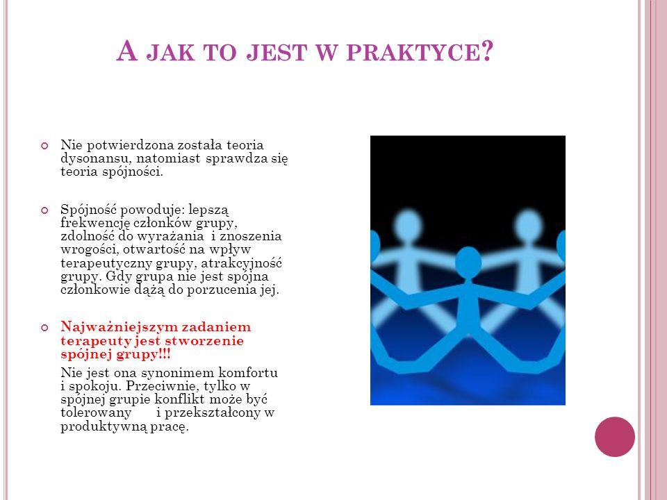 A jak to jest w praktyce Nie potwierdzona została teoria dysonansu, natomiast sprawdza się teoria spójności.