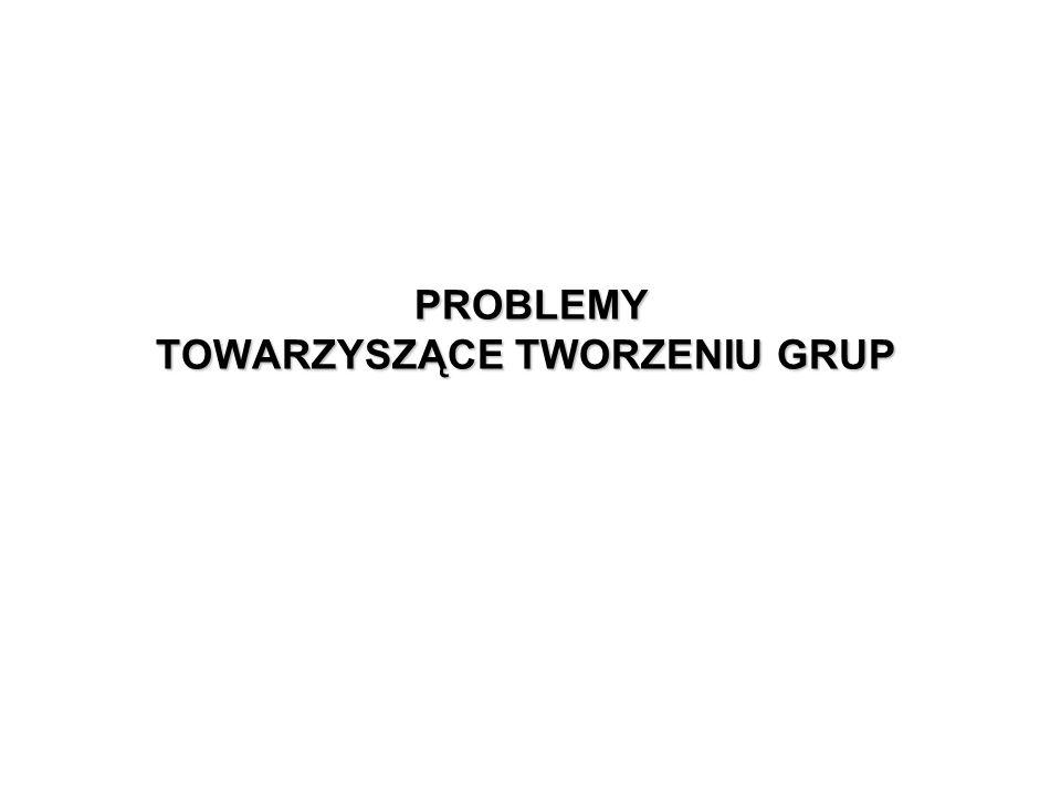 PROBLEMY TOWARZYSZĄCE TWORZENIU GRUP