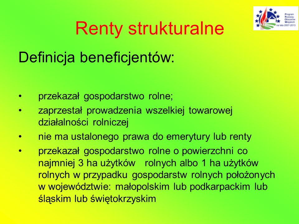 Renty strukturalne Definicja beneficjentów: