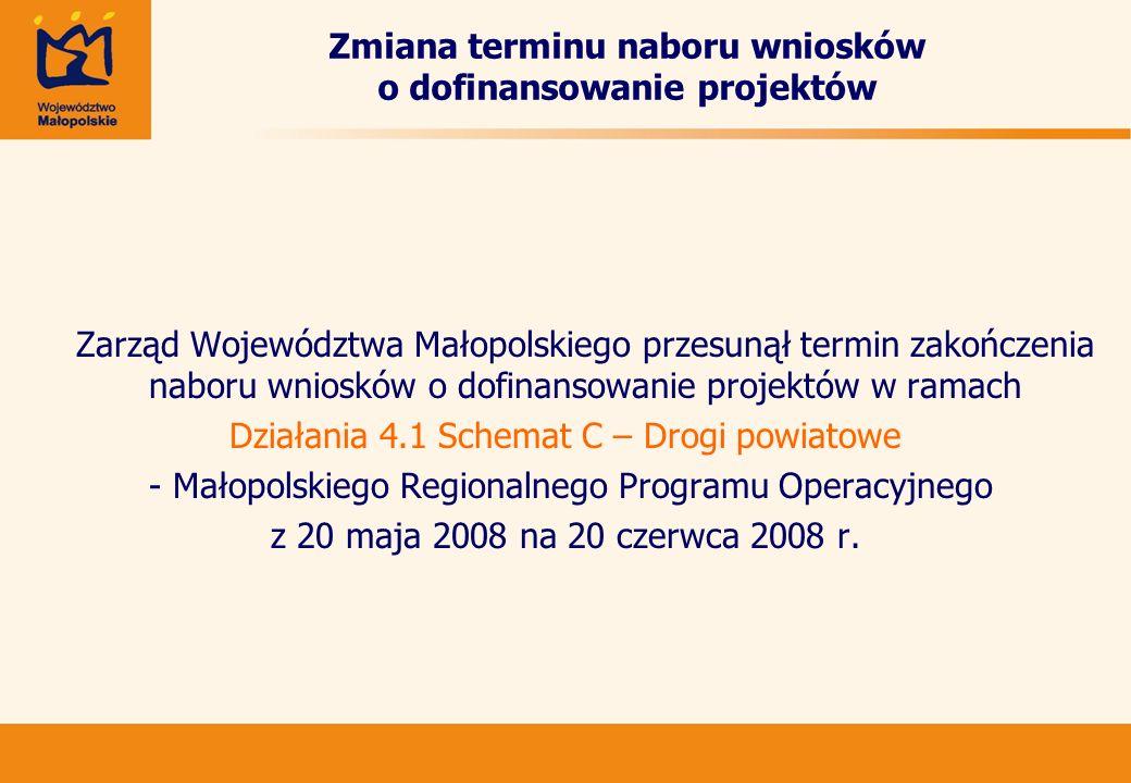 Zmiana terminu naboru wniosków o dofinansowanie projektów