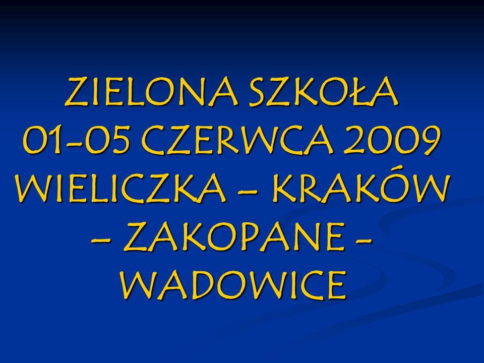 ZIELONA SZKOŁA 01-05 CZERWCA 2009 WIELICZKA – KRAKÓW – ZAKOPANE -WADOWICE