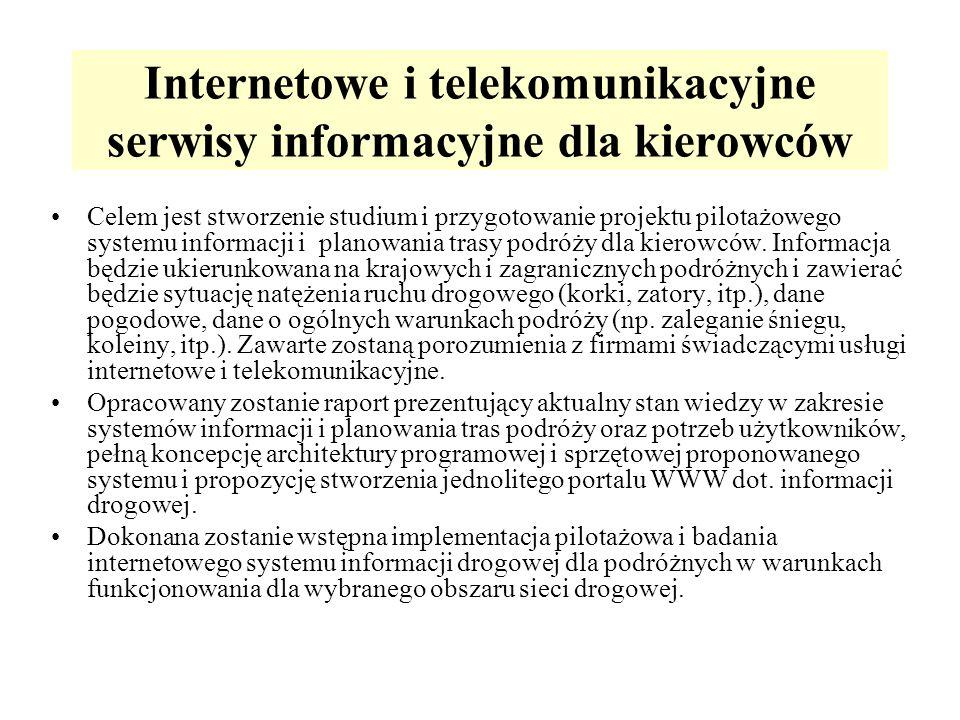 Internetowe i telekomunikacyjne serwisy informacyjne dla kierowców