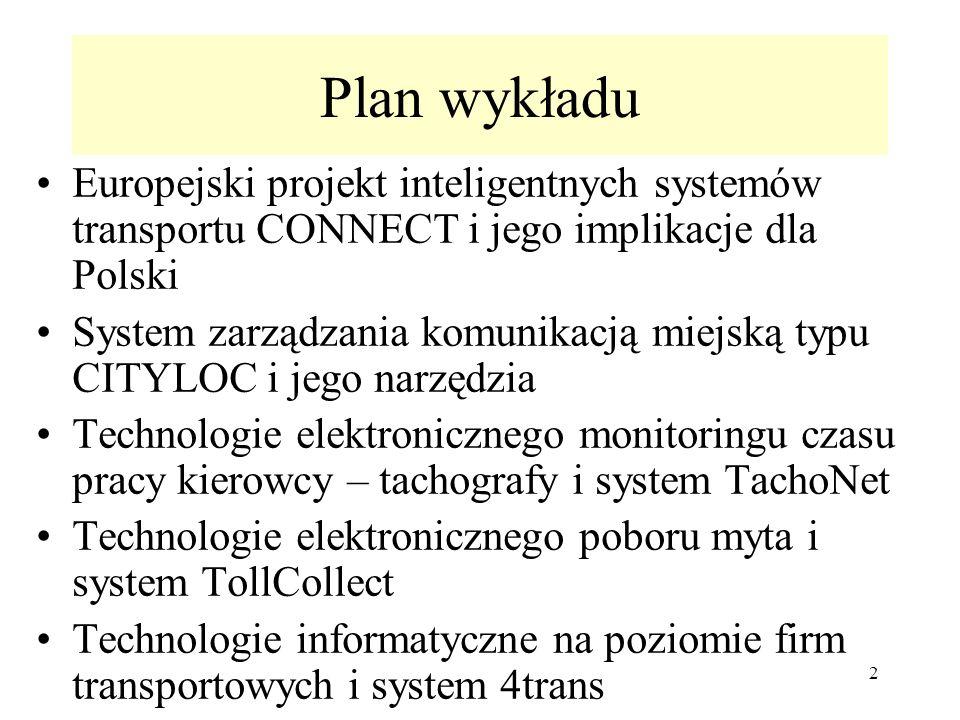 Plan wykładu Europejski projekt inteligentnych systemów transportu CONNECT i jego implikacje dla Polski.