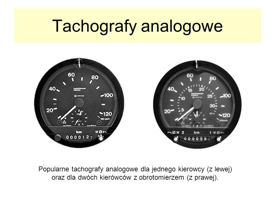 Tachografy analogowe Popularne tachografy analogowe dla jednego kierowcy (z lewej) oraz dla dwóch kierówców z obrotomierzem (z prawej).