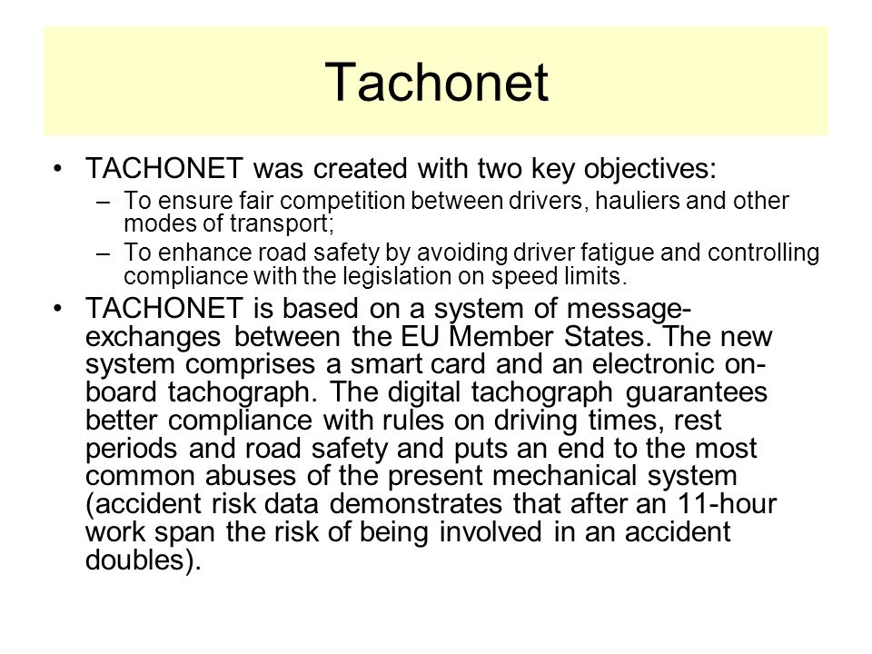 Tachonet TACHONET was created with two key objectives: