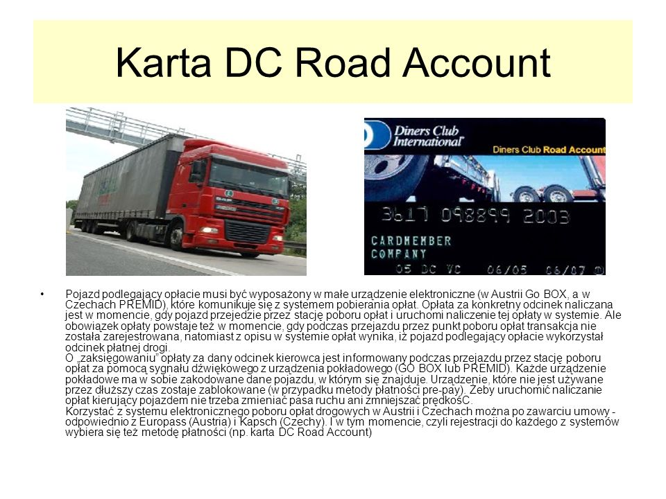 Karta DC Road Account