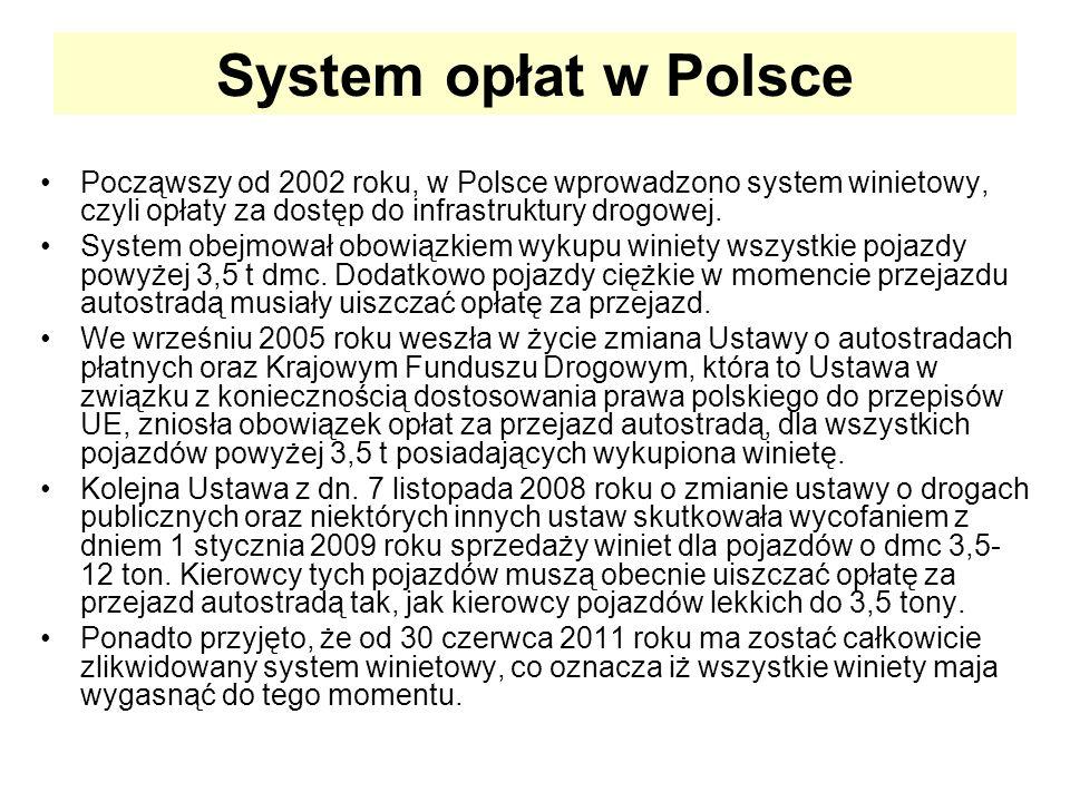 System opłat w Polsce Począwszy od 2002 roku, w Polsce wprowadzono system winietowy, czyli opłaty za dostęp do infrastruktury drogowej.