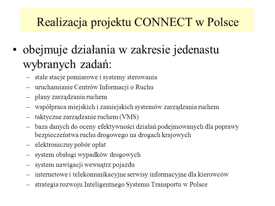 Realizacja projektu CONNECT w Polsce