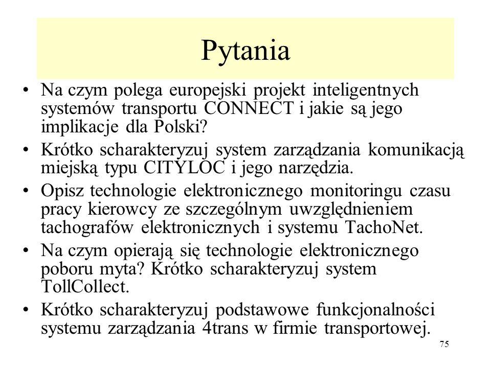Pytania Na czym polega europejski projekt inteligentnych systemów transportu CONNECT i jakie są jego implikacje dla Polski