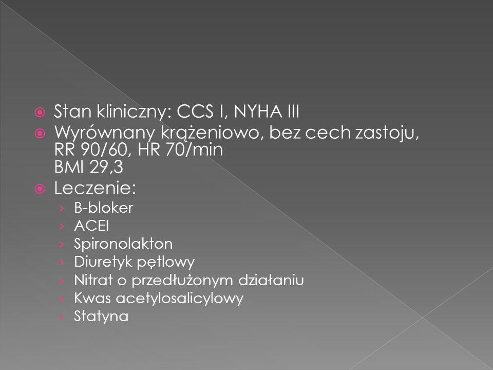 Stan kliniczny: CCS I, NYHA III