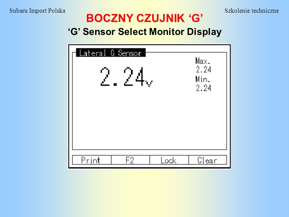 'G' Sensor Select Monitor Display