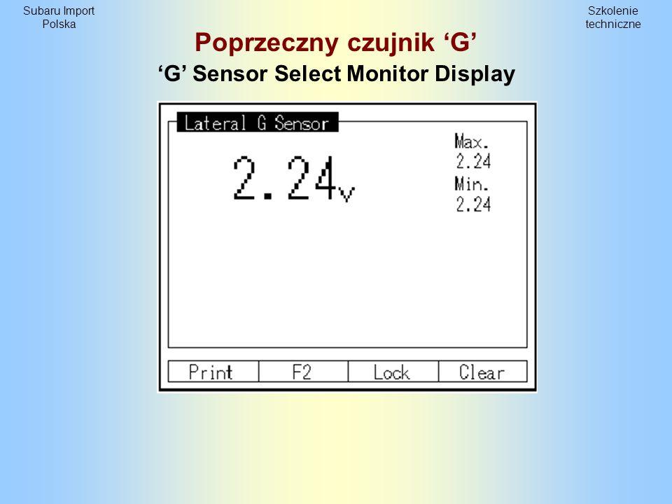Poprzeczny czujnik 'G' 'G' Sensor Select Monitor Display