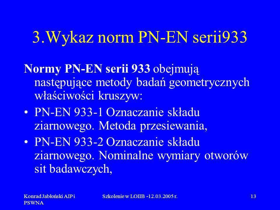 3.Wykaz norm PN-EN serii933 Normy PN-EN serii 933 obejmują następujące metody badań geometrycznych właściwości kruszyw: