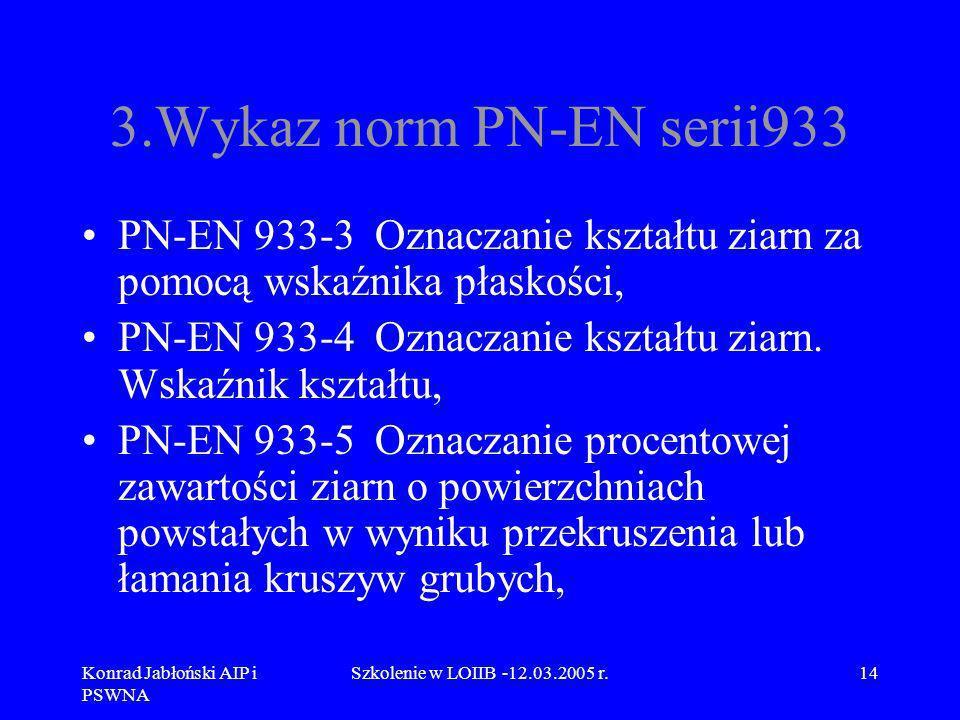 3.Wykaz norm PN-EN serii933 PN-EN 933-3 Oznaczanie kształtu ziarn za pomocą wskaźnika płaskości,