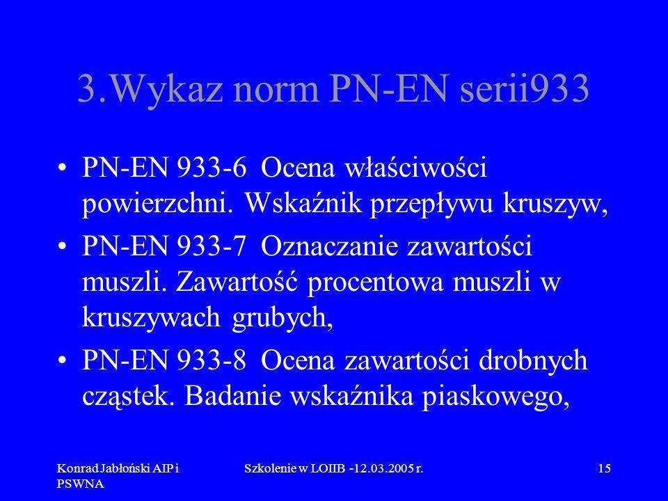 3.Wykaz norm PN-EN serii933 PN-EN 933-6 Ocena właściwości powierzchni. Wskaźnik przepływu kruszyw,