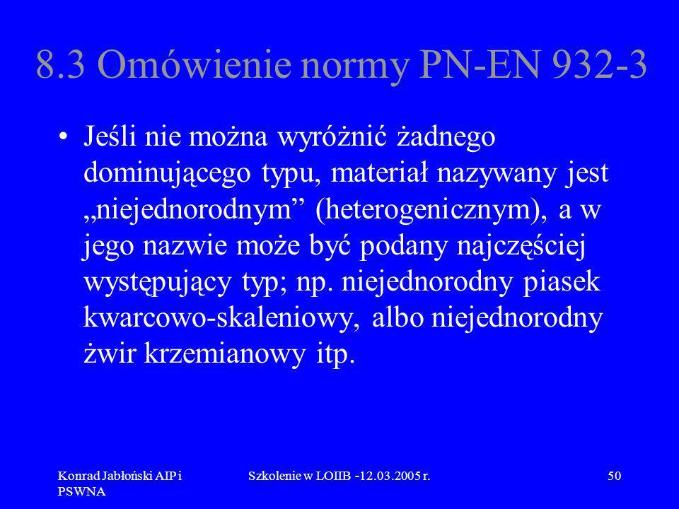 8.3 Omówienie normy PN-EN 932-3
