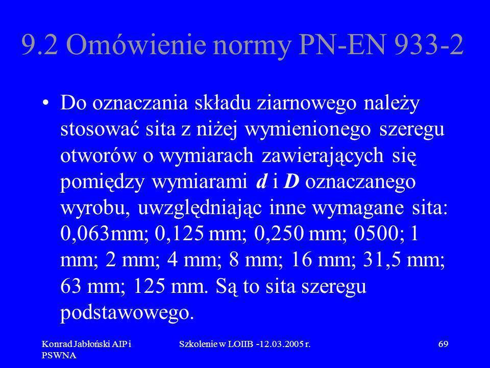 9.2 Omówienie normy PN-EN 933-2