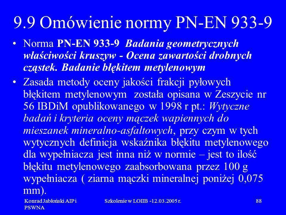 9.9 Omówienie normy PN-EN 933-9