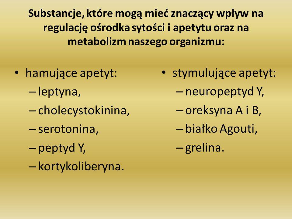 hamujące apetyt: leptyna, cholecystokinina, serotonina, peptyd Y,