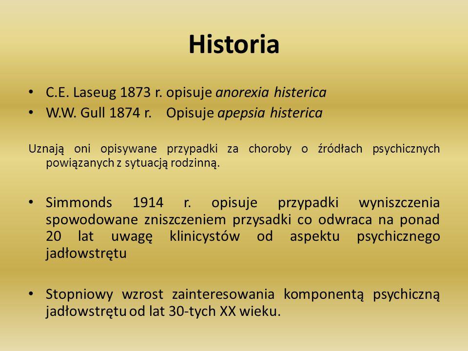 Historia C.E. Laseug 1873 r. opisuje anorexia histerica