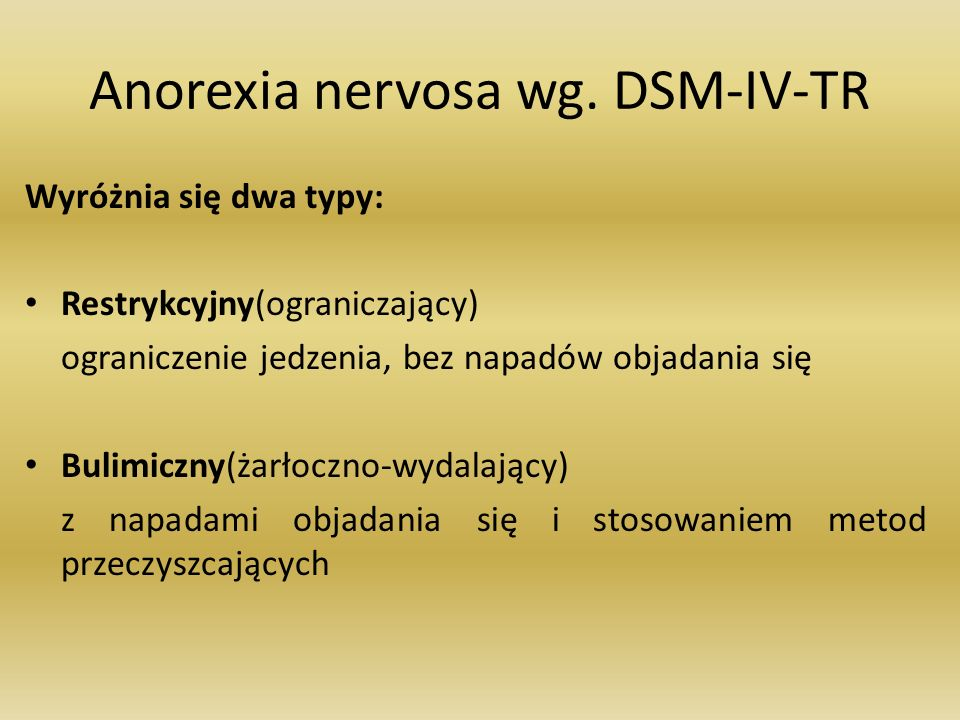 Anorexia nervosa wg. DSM-IV-TR