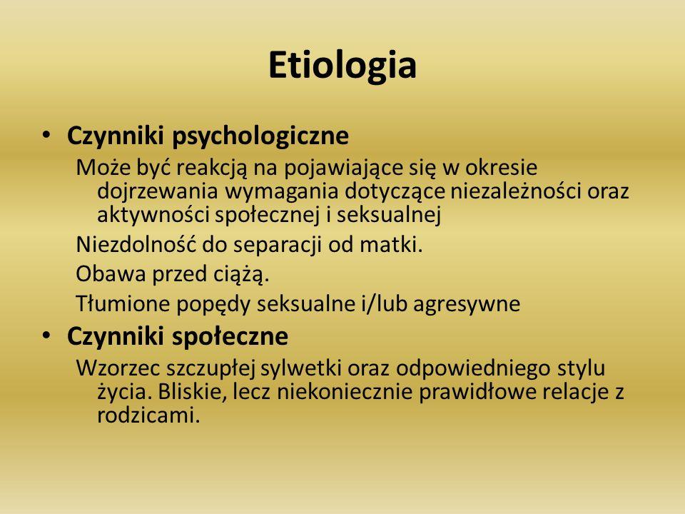 Etiologia Czynniki psychologiczne Czynniki społeczne