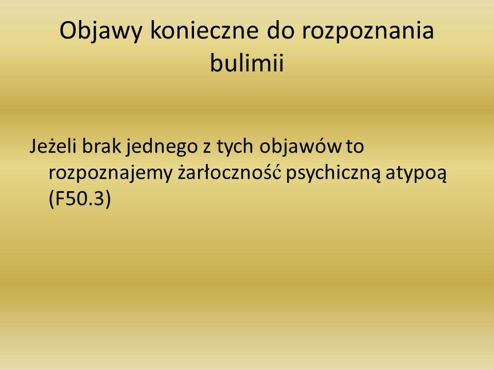 Objawy konieczne do rozpoznania bulimii