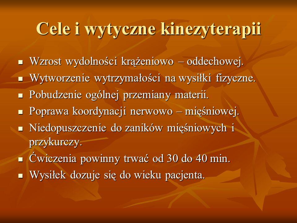 Cele i wytyczne kinezyterapii