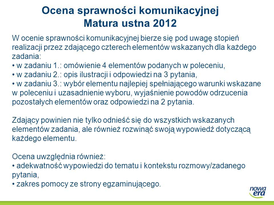 Ocena sprawności komunikacyjnej Matura ustna 2012