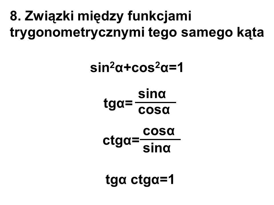 8. Związki między funkcjami trygonometrycznymi tego samego kąta