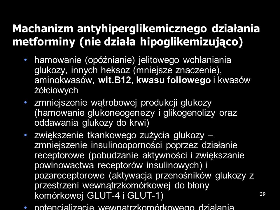 Machanizm antyhiperglikemicznego działania metforminy (nie działa hipoglikemizująco)