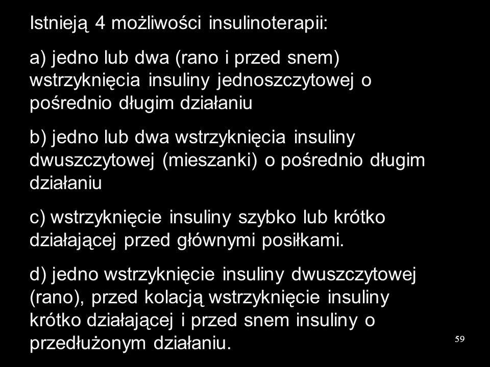 Istnieją 4 możliwości insulinoterapii: