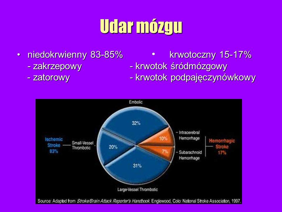 Udar mózgu niedokrwienny 83-85% krwotoczny 15-17%
