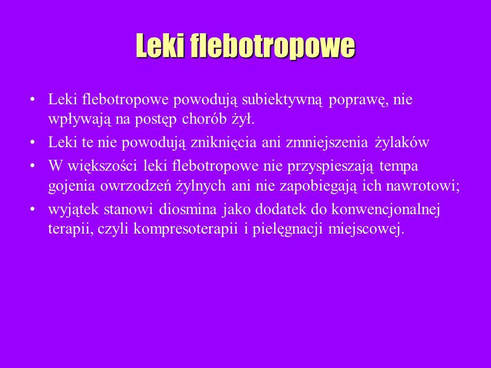Leki flebotropowe Leki flebotropowe powodują subiektywną poprawę, nie wpływają na postęp chorób żył.
