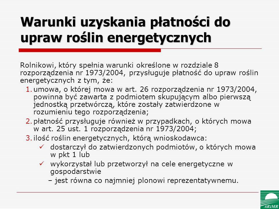 Warunki uzyskania płatności do upraw roślin energetycznych
