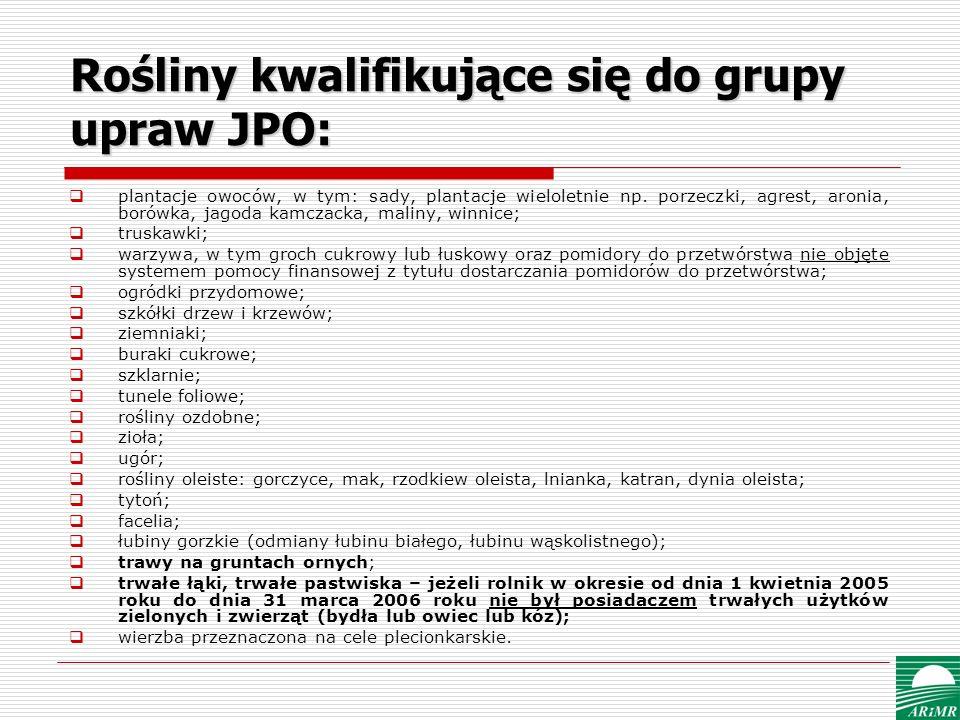 Rośliny kwalifikujące się do grupy upraw JPO: