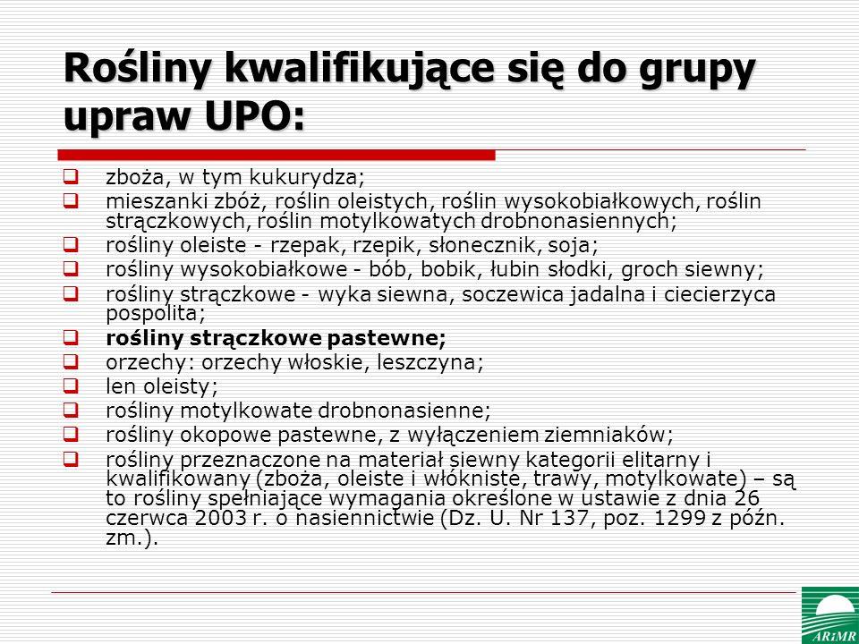 Rośliny kwalifikujące się do grupy upraw UPO: