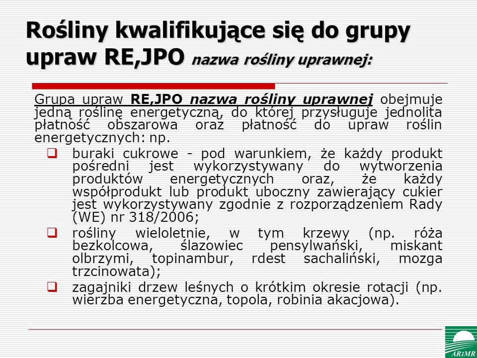Rośliny kwalifikujące się do grupy upraw RE,JPO nazwa rośliny uprawnej: