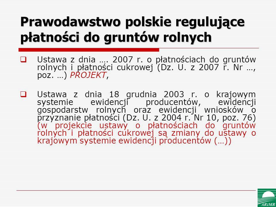 Prawodawstwo polskie regulujące płatności do gruntów rolnych