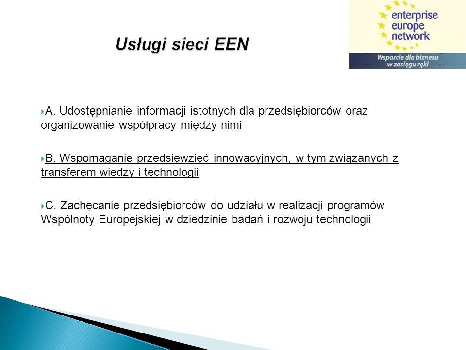 Usługi sieci EEN A. Udostępnianie informacji istotnych dla przedsiębiorców oraz organizowanie współpracy między nimi.