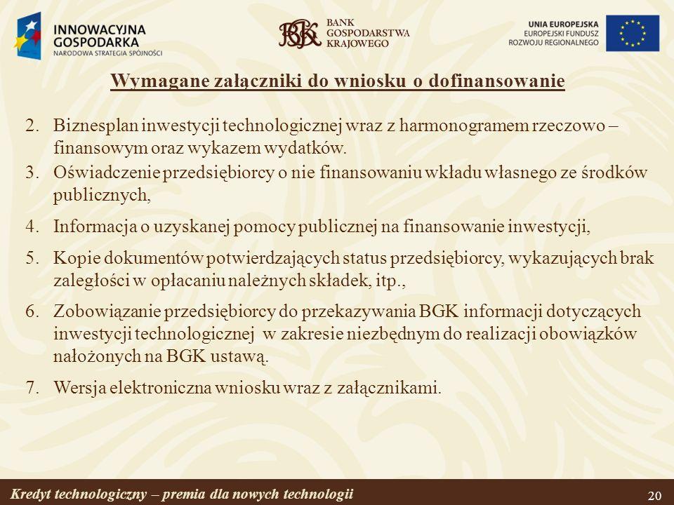 Wymagane załączniki do wniosku o dofinansowanie