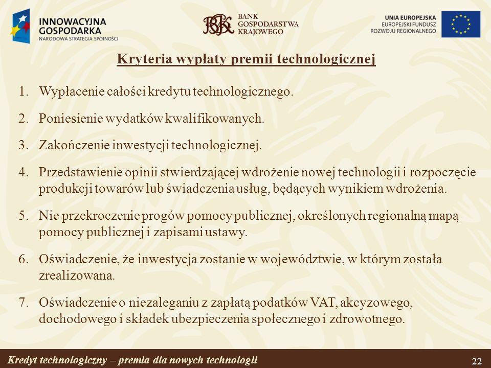 Kryteria wypłaty premii technologicznej