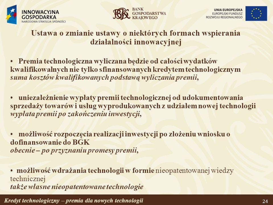 Ustawa o zmianie ustawy o niektórych formach wspierania działalności innowacyjnej