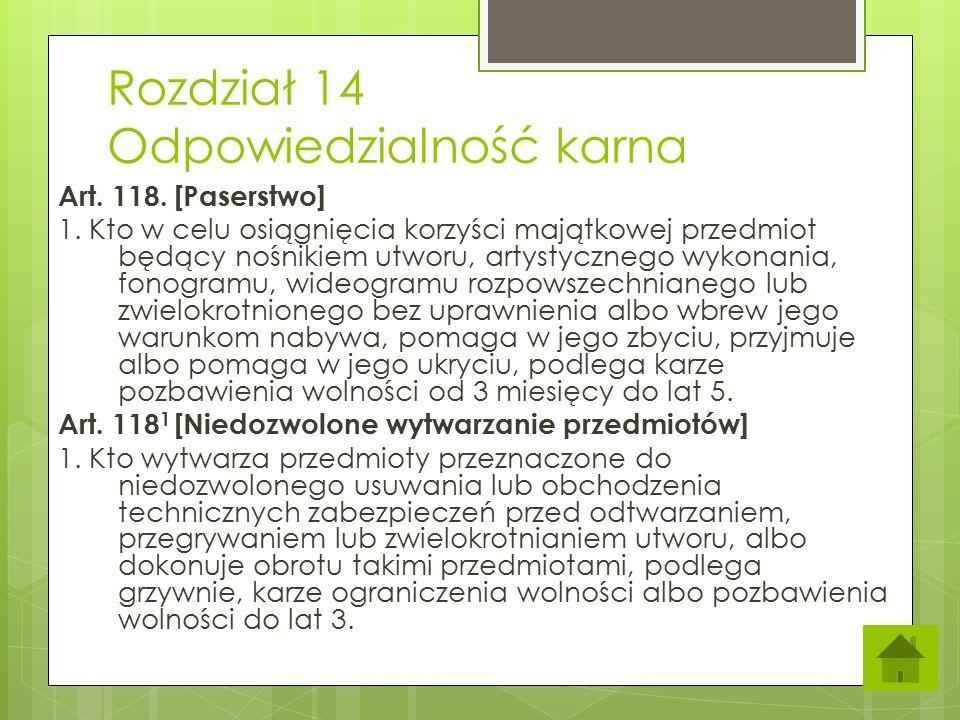 Rozdział 14 Odpowiedzialność karna
