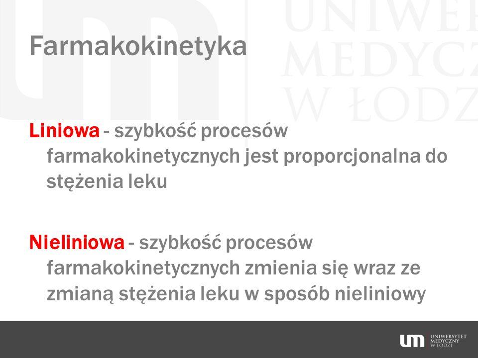 Farmakokinetyka Liniowa - szybkość procesów farmakokinetycznych jest proporcjonalna do stężenia leku.