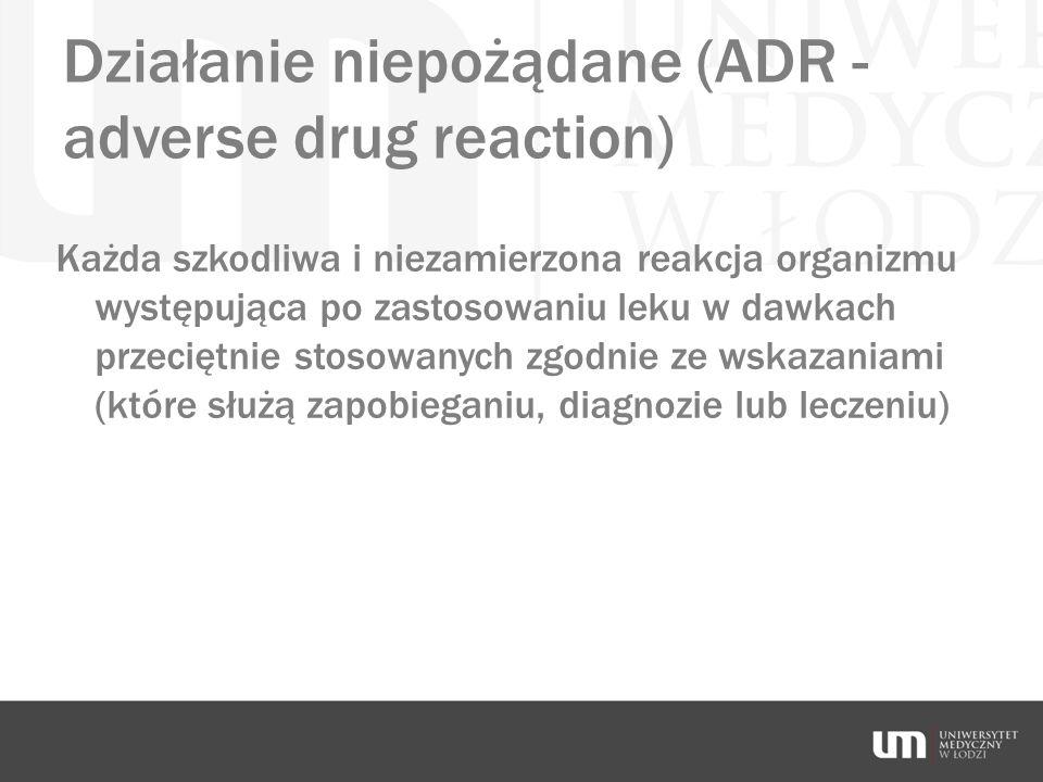 Działanie niepożądane (ADR - adverse drug reaction)